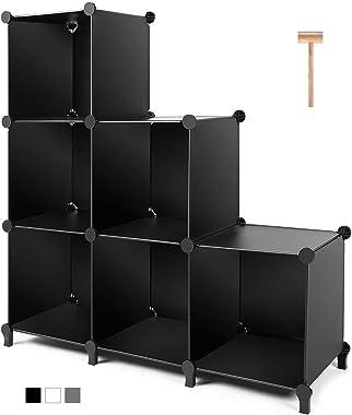 TomCare Cube Storage 6-Cube Closet Organizer Storage Shelves Cubes Organizer DIY Plastic Closet Cabinet Modular Book Shelf Organizing Storage Shelving for Bedroom Living Room Office, Black