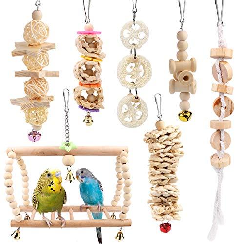 Vegena Vogelspielzeug, 7er Set Vögel Holzleiter Spielzeug mit Landeplatz Vogelkäfig Zubehör für Wellensittich Papageien Graupapageien Nymphensittiche Finken Sittiche Kakadus Aras