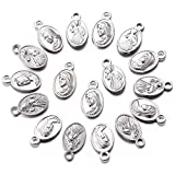 100pcs Oval Our Lady Miraculous Medal Floral Rosary Centerpiece Cross Jesus Virgin Mary Catholic Alloy Crucifix Charms for DIY Jewelry Making 8mmx13mm(A628)