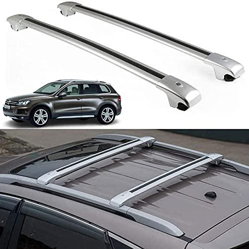 WYYUE Aluminio Bacas para VehíCulos, Barra de Techo, Compatible con VW Touareg 2010-2018, Barra De Techo Portaequipajes para Coche Juego Techo Aluminio, Carga Transporte Barra