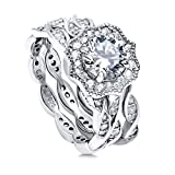 BERRICLE Rhodium Plated Sterling Silver Round Cubic Zirconia CZ Art Deco Halo Milgrain Engagement Wedding Ring Set 1.96 CTW Size 6