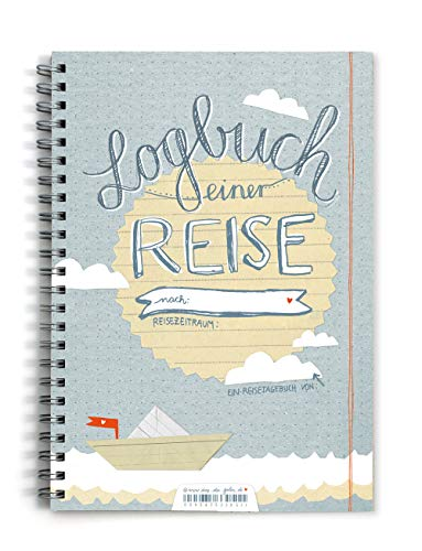 Reisetagebuch - Logbuch einer Reise - Tagebuch zum Schreiben mit Wetter-, Stimmungs- und Zitatfeldern, blau, dotted, A5