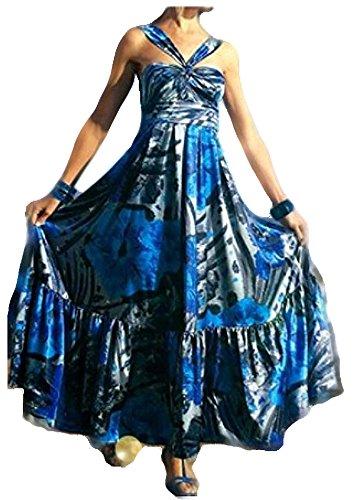 APART Damen-Kleid Satin-Kleid blau-silber in Größe 17 (34) Satin Blau