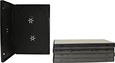 Square Deal Recordings & Supplies (5) Black Triple Overlap Style DVD Cases - 14MM Thick