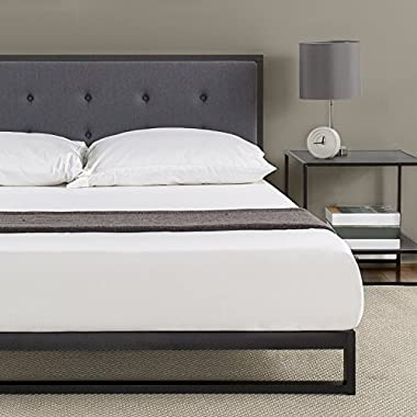 Zinus 7 Inch Low Profile Platforma Bed Frame, Mattress Foundation, with Tufted Headboard, Box Spring Optional, Wood Slat Support, Twin