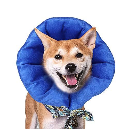 SMONTER Collar de recuperación para Perros y Conos, Collar de recuperación Suave para Mascotas con estancias extraíbles Ajustables inflables