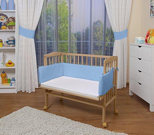 WALDIN Lit cododo pour bébé/berceau avec matelas et tour de lit,bois non traité,16 modèles disponibles,Surface de couchage extra large : L 90 x l 55,couleur du textile bleu