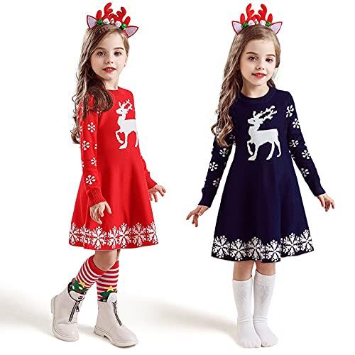 DZHTWSRYGR Disfraces de Navidad para nios Vestido de Gasa de Punto de Invierno para nias Fiesta de Navidad Traje de nia con Tema navideo de Manga Larga