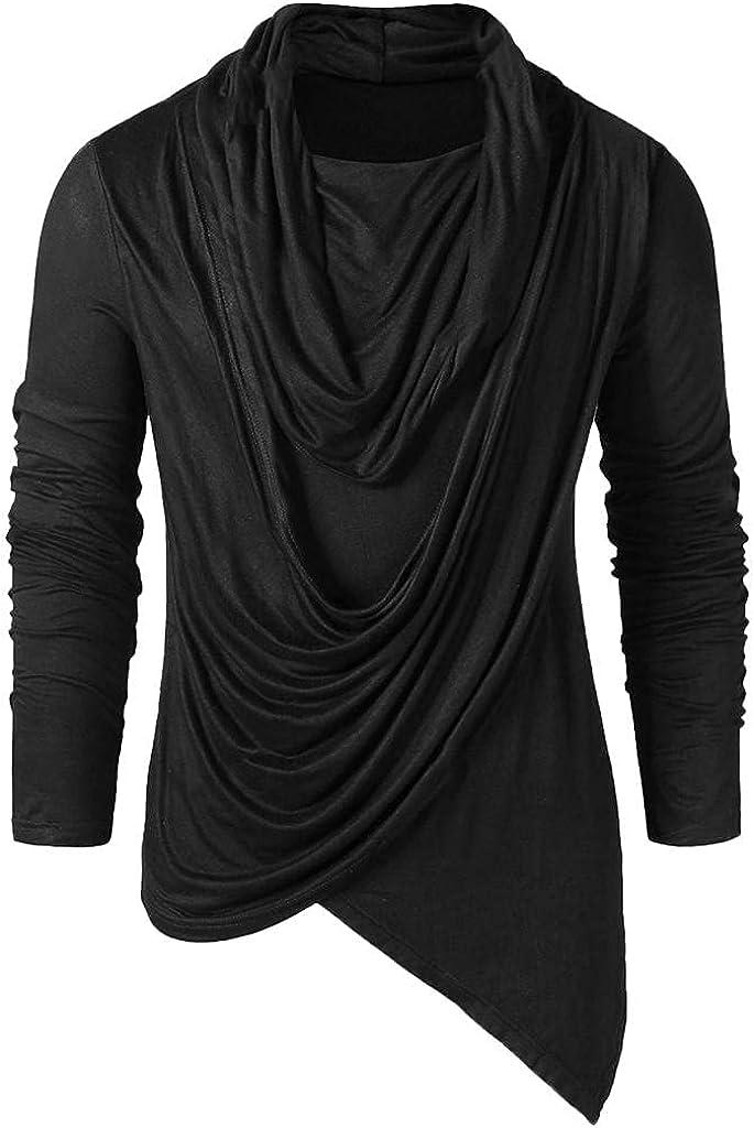 Men Hipster Shirts Vintage Hiphop Irregular Hem Punk T Shirt Solid Long Sleeve Pile Heap Collar Top Casual Loose Blouse