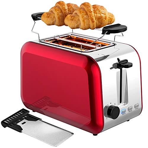 Bonsenkitchen Automatik 2 Scheiben Edelstahl Toaster mit 7 Bräunungsstufen und Krümelschublade, Auto-Pop-Up Retro Rot Toaster mit Auftau, Aufwärm Funktion und Abnehmbarer Brötchenaufsatz