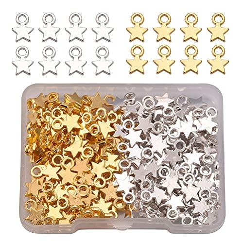 MiaLover Juego de 160 colgantes de aleación de zinc con forma de estrella, estilo tibetano, pulsera de estrella de cinco puntas, pequeño colgante para pulseras, collares, pendientes, dorado y plateado
