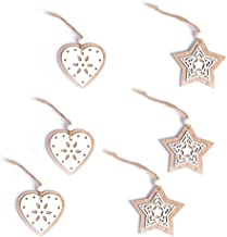 6 Pcs Xmas Wooden Hollow Double Layer Ornaments Baubles Hanging Decor Christmas Tree Decoration