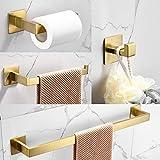 WOMAO Juego de Accesorios de baño Adhesivo de 4 Piezas, Gancho para Toalla, Anillo, Soporte para Papel higiénico, Soporte para Papel higiénico, Moderno Acabado Dorado Cepillado diseño Cuadrado