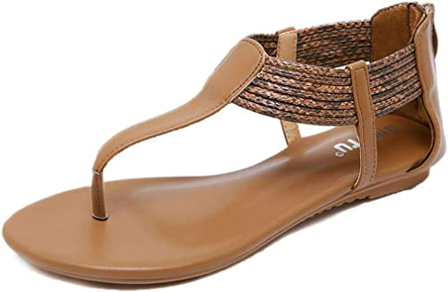L-X Boho Sandals Eté T-Strap Mode été Marche à Cheveux Cheveux Cheveux Sangle Cheville Sangle Grande Taille Confortable Chaussures Romaines, Marron, 38 UE 3e0