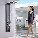 Rozin Wall Mounted Shower System Lot de 7 pommes de douche en acier inoxydable avec pommeau de douche et jet d'eau Noir