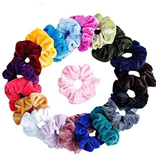 LILIHOT Frauen oder Mädchen Haargummis Scrunchie Haargummis Zubehör Samt Chiffon Blume Bunt Elastisch Haarbänder für Damen Mädchen Pferdeschwanz Haarband