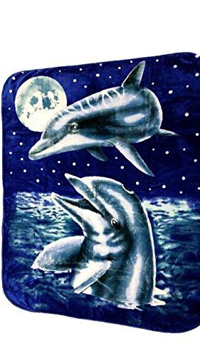 YSN Home Collection 307 - Wolldecke Decke Kuscheldecke Tagesdecke Delfine Delphine XXL Grösse blau (205 x 230 cm) Romantisch Liebe Love Geburtstag