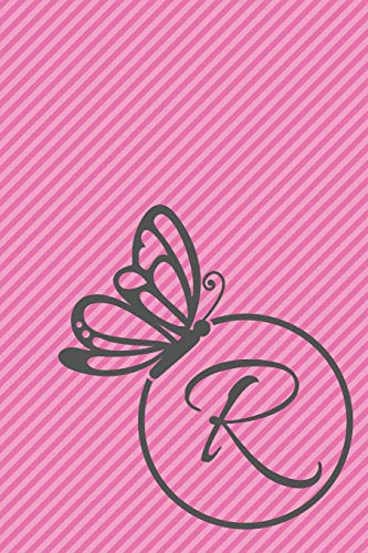 R: Initial R Monogram Notebook Journal Gift Circular Butterfly design (Butterfly Circle Monogram Journals)