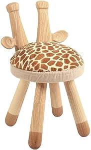 QINJLI Ändern Sie Schuhe Hocker, Massivholz Studie Hocker Kreative Möbel Giraffe Stuhl Abnehmbare Kissen Platz sparen Kinder Geschenk 27 * 27 * 48 cm