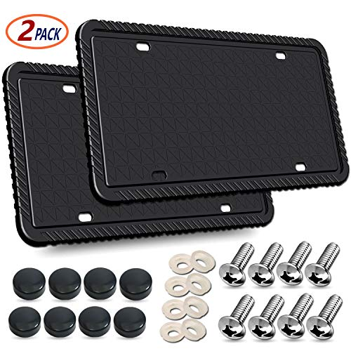 YoUoY Black License Plate Frames- 2Pack Silicone License Plate Frame with Drainage Holes, Rust-Proof, Weather-Proof and Rattle-Proof License Plate Frame for Car with License Screws, Caps