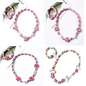 Fineder 4 Sets Princess Beaded Necklace Bracelet toddler necklace Jewelry Set Dress Up Jewelry for Little Girls Toddler Dress Up Jewelry Party Favor Christmas gift