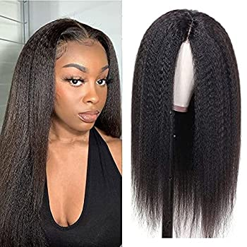 Kingky Straight Lace Front Wigs Human Hair 16 Inth YaKi Straight Human Hair Wigs for Black Women 150% Density T Part Lace Front Wigs Human Hair Wigs Pre Plucked Natural Color