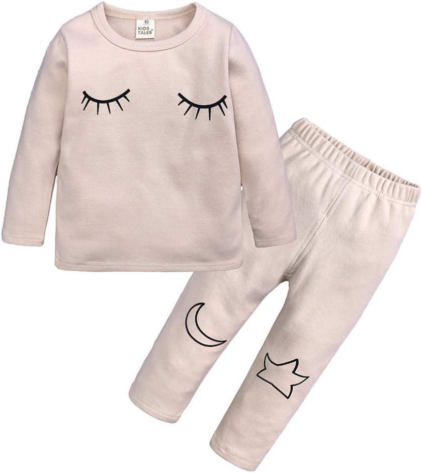 Mamum 2 pi/èces coton manches longues hiver chaud v/êtements de nuit pour 1-6 ans enfants Ensemble de pyjamas b/éb/é nouveau-n/é filles gar/çons 3Ans blanc, 100