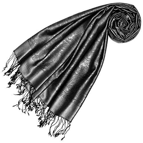 LORENZO CANA Foulard de 70% soie et 30% viscose pour la femme – écharpe paisley 70 x 190 cm - attrayant et noble pour le printemps et l´été – une sensation de luxe en argent gris ton sur ton