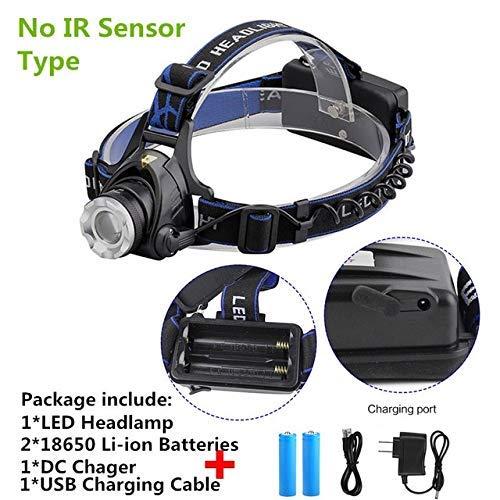 HSZH Scheinwerfer 10000lums Ir Sensor Scheinwerfer T6 Induktion USB Wiederaufladbare Laterne Led Stirnlampe Taschenlampe Von 18650 Kein Sensor Dc 02
