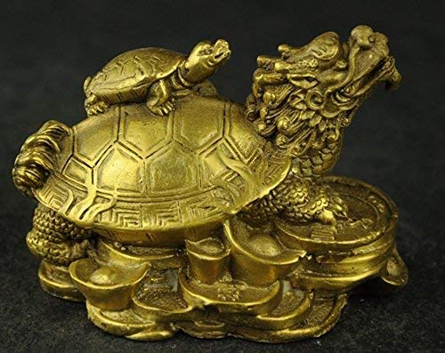 ZYYH China's rare hand carved statues of fortune dragon turtle brass