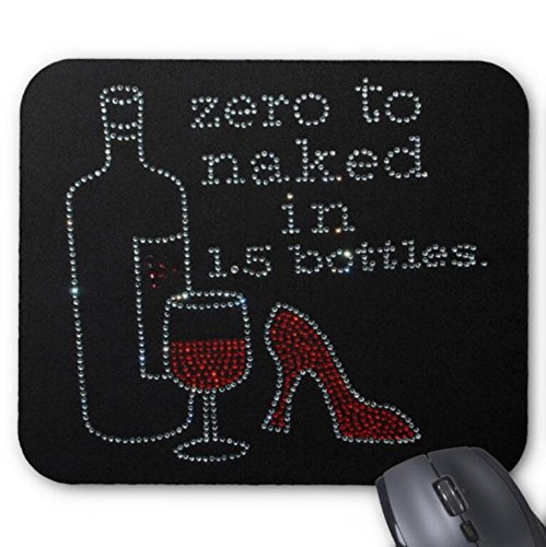 Mousepad Rhinestone Wine Bottle Glass and Heel Shoes/Zero to Naked Print Mouse Mat