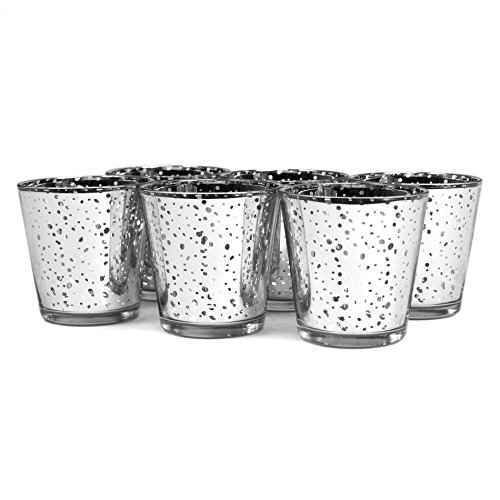 Koyal Wholesale 12-Pack Antique Votive Cup, 3-Inch, Silver, Mercury Glass Candle Holders, Wedding Votive Candle Holders