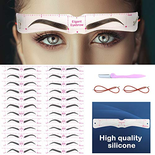 Aresvns Eyebrow Stencil 24 styles ,Reusable Eyebrow Template with Strap for Women , Popular Eyebrow Shapes ,Suitable Sizes,Eyebrow makeup kit,Easy 3 Minutes Eyebrow Makeup Tools for A Variety of Face