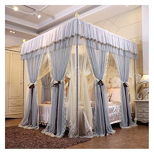 N\C Mosquitera para Cama, Esquina, Postes, Cama, Dosel, Cortinas - Phnom Penh Lace Top Account Cloth - Mosquitera sombreada para habitación de niñas (tamaño: para Cama de 1,8 m / 6 pies) QZQQ