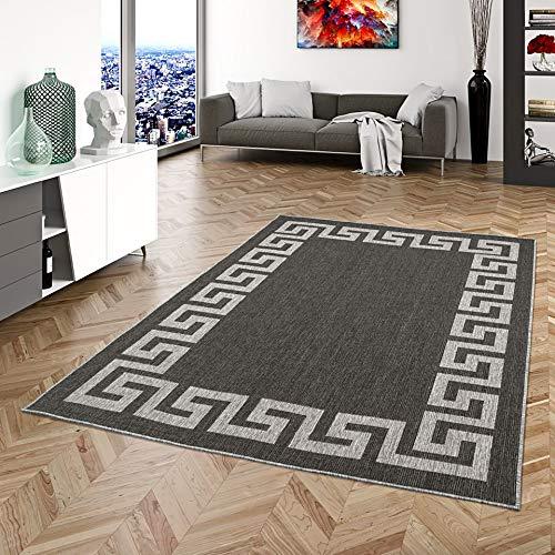 Pergamon In- und Outdoor Teppich Beidseitig Flachgewebe Newport Römische Bordüre Anthrazit in 5 Größen