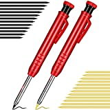Solid Carpenter Pencil with Sharpener and Leads Mechanical Pencils for Wood Flooring Marker Carpenters Drawing Scriber Woodworking Architect ()