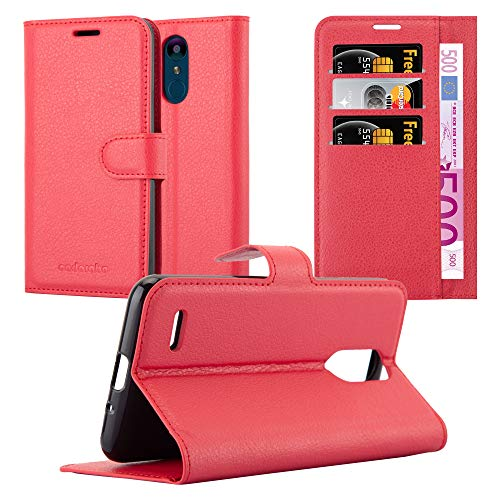 Cadorabo Hülle für LG K9 in Karmin ROT - Handyhülle mit Magnetverschluss, Standfunktion & Kartenfach - Hülle Cover Schutzhülle Etui Tasche Book Klapp Style