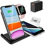 DOOK 4 en 1 Chargeur sans Fil - Chargeur à Induction Rapide - Station De Charge 15W Qi pour Apple...