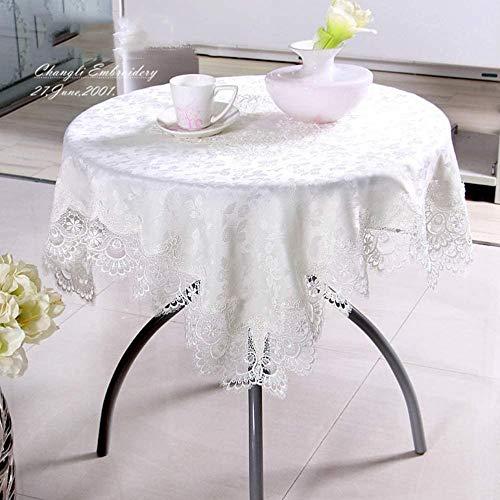 Yooepd - Mantel rectangular de poliéster para mesa, antidecoloración, a prueba de polvo, para cocina, boda, novia, baby shower, decoración (blanco), 150 x 220 cm