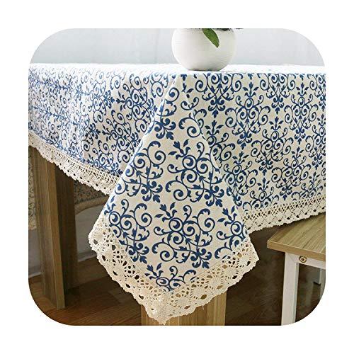 cubierta de mesa de múltiples tamaños clásicos cuadrados de tela de mesa de cocina rectangular mantel en la mesa de comedor decoración del hogar algodón lino qinghuaci-Acerca de 60x60cm