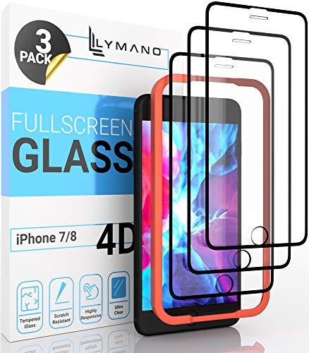 [3 unidades] LYMANO Protector de pantalla de cristal para iPhone 7 y iPhone 8, protector de pantalla de cristal protector [antiarañazos] [sin burbujas] [cobertura completa] (4,7 pulgadas), negro