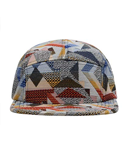 GP Accessories Pattern Multi Color Stripe 5 Panel Hat Large Geo Red Multicolored