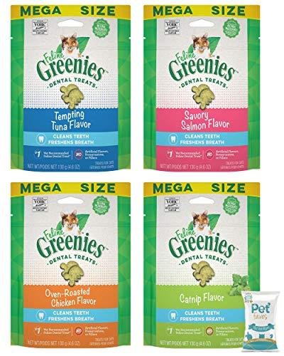 Greenies (4 Pack Feline Dental Cat Treat Variety Bundle 4 Flavors – 4.6oz Each Bag, (1) Tempting Tuna, (1) Savory Salmon…