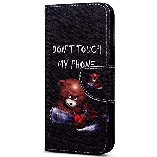 EUWLY Kompatibel mit Sony Xperia XZ1 Handyhülle Bunt Leder Hülle Brieftasche Ledertasche Klapphülle Handy Tasche Flip Hülle mit Kartenfächer Magnet,Niedlich Karikatur Bär