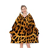 ArmuPrint Leopard Grain Printed Sherpa Oversized Fleece Hug Hoodie Wearable Blanket, Soft Warm Comfortable Giant Pocket for Teens Adults Men Women.About 14 Days delivery