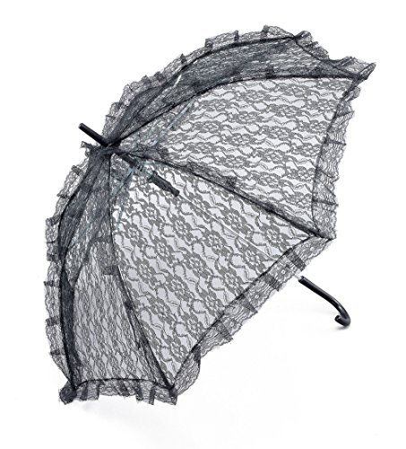 Bristol Novelty BA912 Parasol Black Lace, One Size