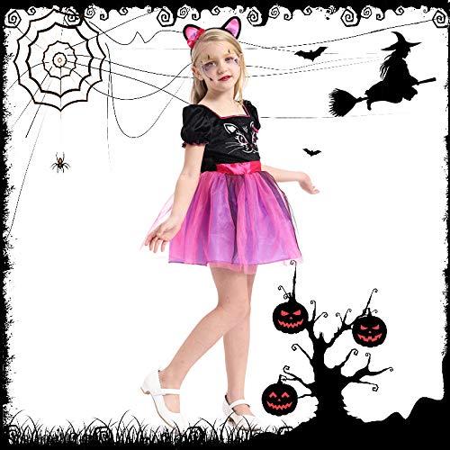 N / A Cosplay Regalo de la Novedad de Halloween Disfraz para nios Disfraz de actuacin Disfraz de Gato para nia Disfraz de Bruja de Navidad Disfraz de Mago Body Height:135-150cm