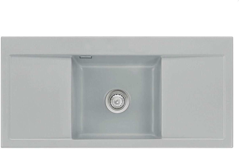 Systemceram Mera Middle Titan Keramik-Spüle Handbettigung Grau Küchenspüle