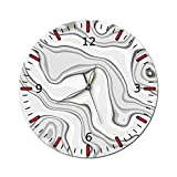 AMGSWAZ Large Decorative Wall Clock Analog Style Silent Non-Ticking Battery Operated Metal Wall Clock Decor for Living Room 28CM