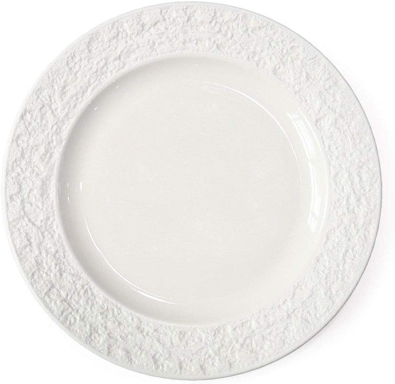 HEMFV 10 Assiette créative de la Salle à Manger, Assiette en céramique Steak Vaisselle Occidentale, Motif en Pierre créative Plat de pates (Couleur   Blanc)